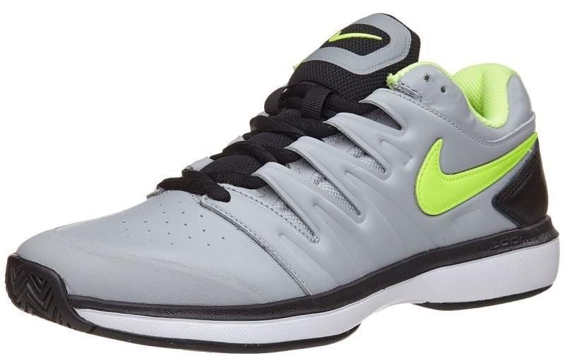 Теннисные кроссовки мужские Nike Air Zoom Prestige HC LTHR wolf grey/volt glow/white/black