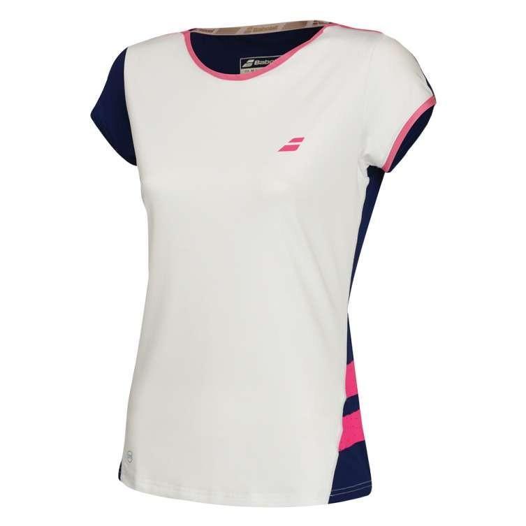 Теннисная футболка женская Babolat Performance Cap Sleeve Top Women white/estate blue