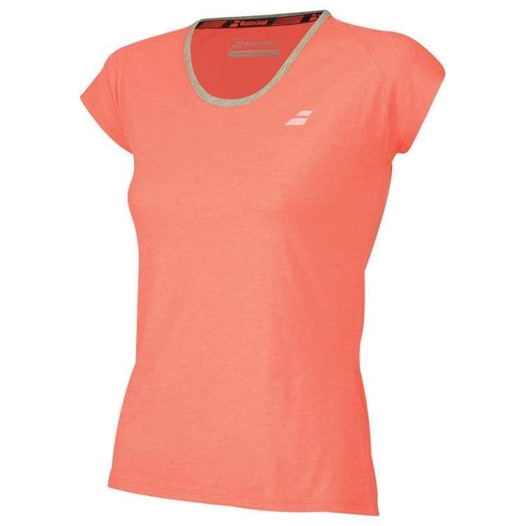 Теннисная футболка женская Babolat Core Tee Women fluo strike/heather