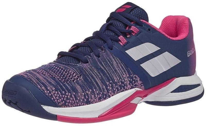 Теннисные кроссовки женские Babolat Propulse Blast all court estate blue/fandango pink/silver