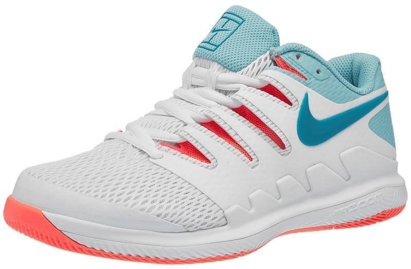 Теннисные кроссовки женские Nike WMNS Zoom Vapor 10 HC white/neo turquoise/bleached aqua/hot lava