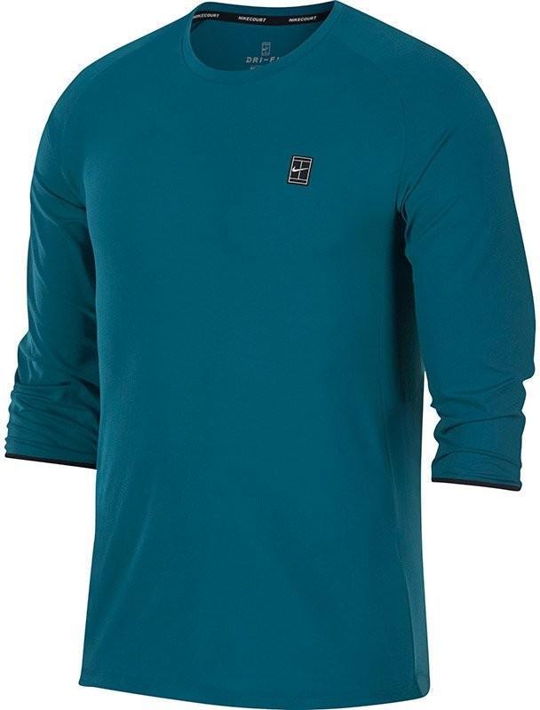 Теннисная футболка мужская Nike Court Dry Challenger green abyss/black/black/white