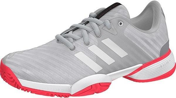 Детские теннисные кроссовки adidas Junior Barricade 2018 xJ metallic silver/ftwr white/flesh red