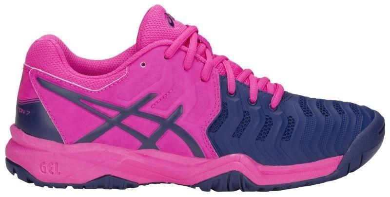 Детские теннисные кроссовки Asics Gel-Resolution 7 GS pink glo/blue print