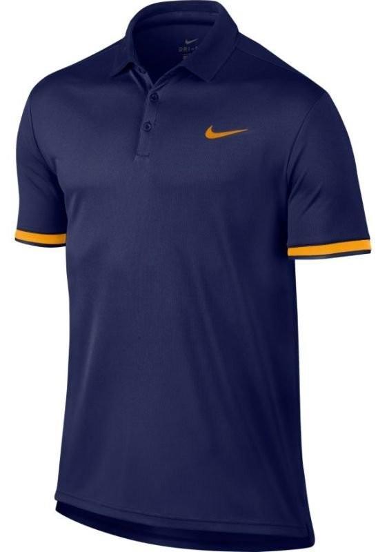 Теннисная футболка мужская Nike Court Dry Polo Team blue void/orange peel