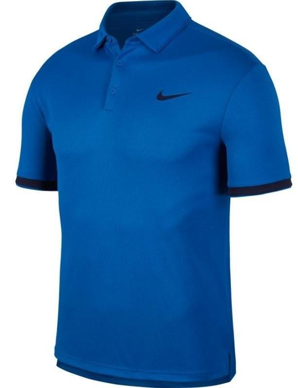 Теннисная футболка мужская Nike Court Dry Polo Team military blue/blackened blue