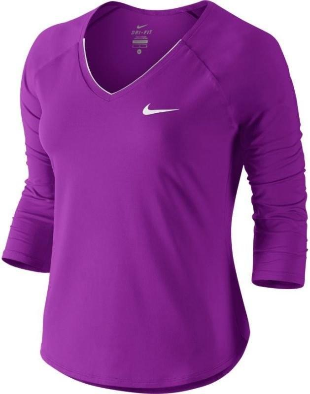 Теннисная футболка женская Nike Court Pure Top 3-4 vivid purple/white