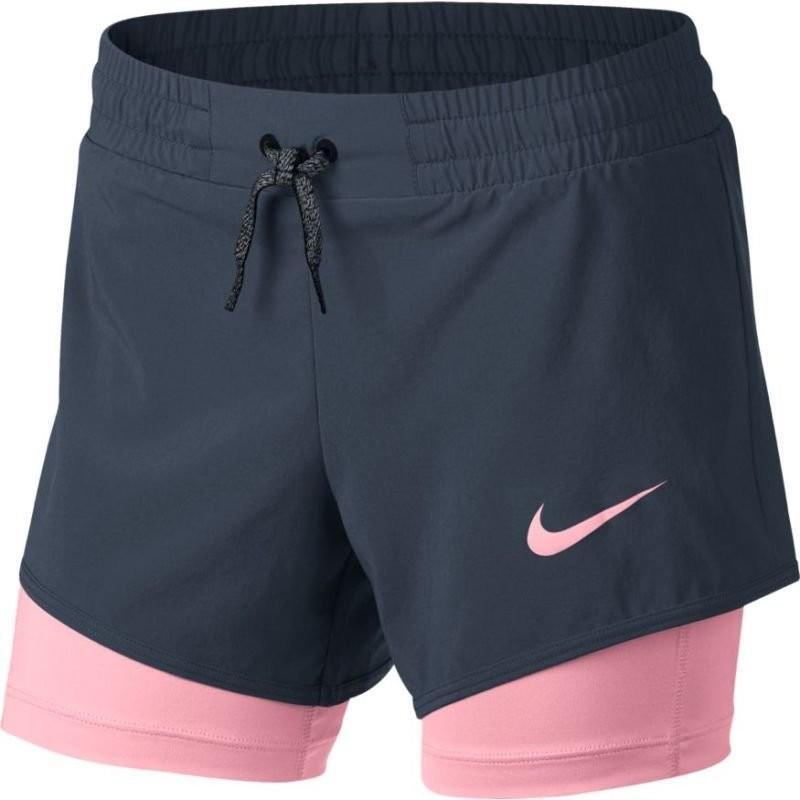 Теннисные шорты детские Nike Girls Short 2in1 thunder blue/pink/thunder blue/pink