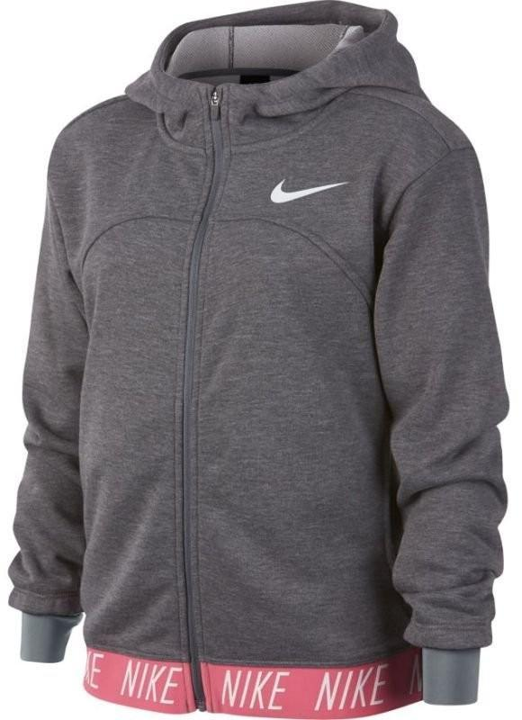 Кофта детская Nike Girls Dry Hoodie FZ Studio carbon heather/cool grey/white