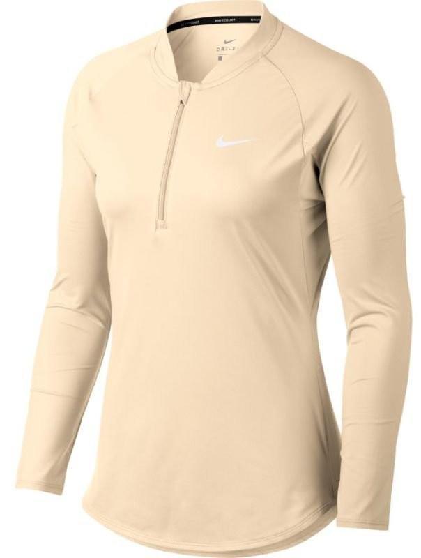 Теннисная футболка женская Nike Court Pure LS HZ Top guava ice/white