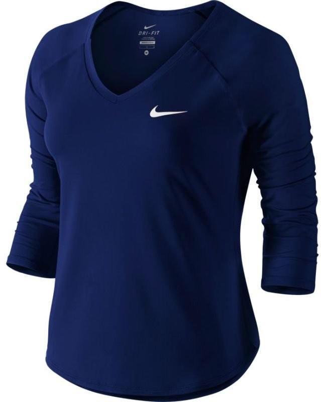 Теннисная футболка женская Nike Court Pure Top 3-4 blue void/white