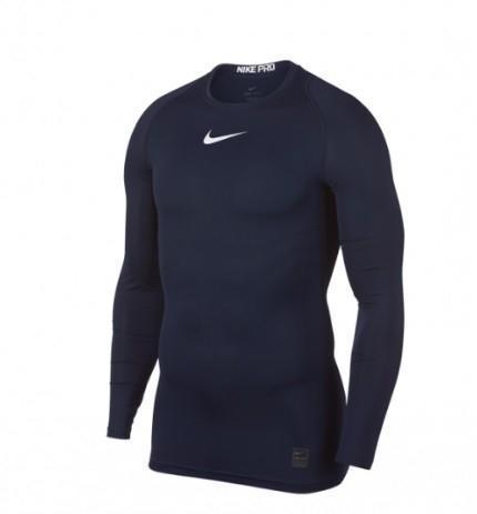 Теннисная футболка мужская Nike Pro LS Comp Top obisidian/white термофутболка