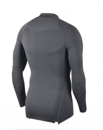 Теннисная футболка мужская Nike Pro Top Compression Mock carbon heather/black термофутболка