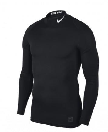 Теннисная футболка мужская Nike Pro Top Compression Mock black/dark grey термофутболка