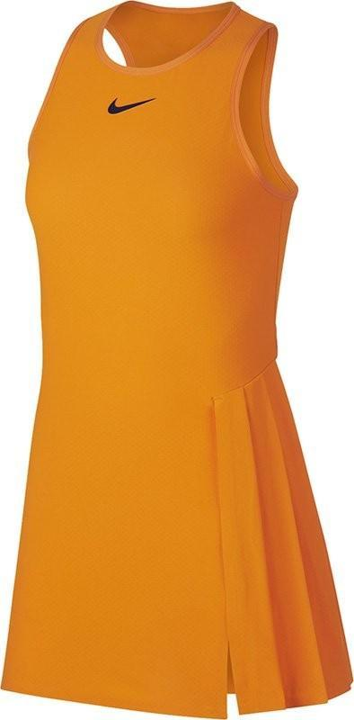 Теннисное платье женское Nike Court Dry Slam Dress NY orange peel/blackened blue