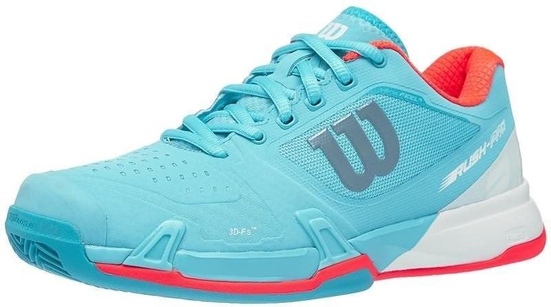 Теннисные кроссовки женские Wilson Rush Pro 2.5 ГРУНТ blue curacao/white/fiery coral