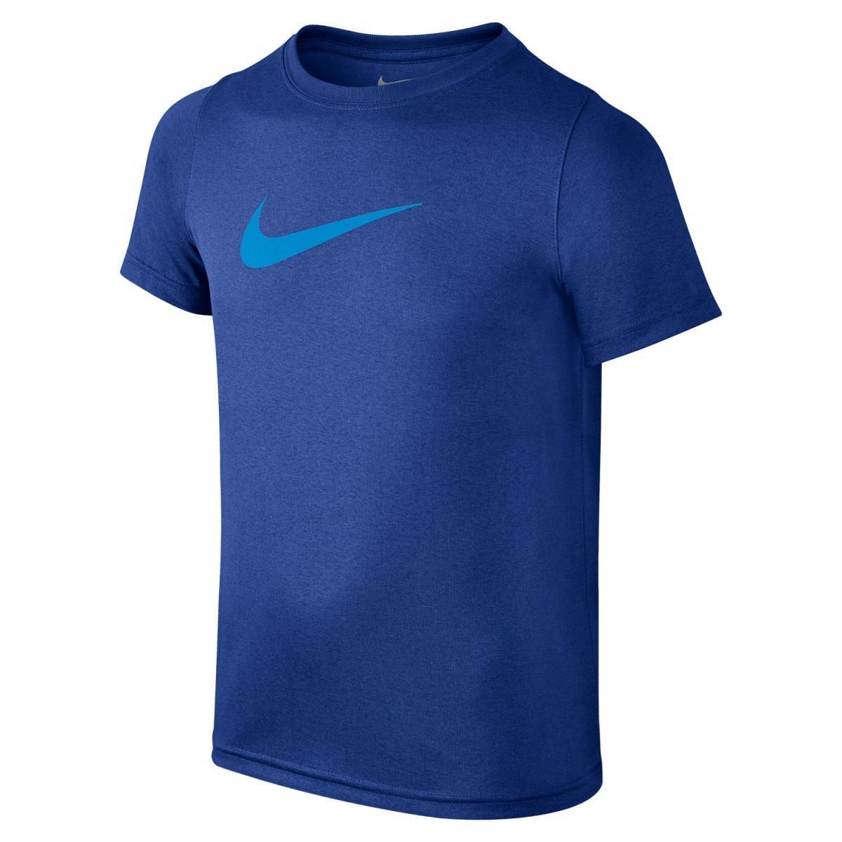 Теннисная футболка детская Nike Dry Tee SS Swoosh Solid dark blue