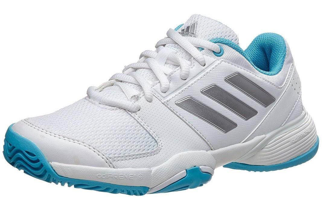 Детские теннисные кроссовки adidas Barricade Club xJ ftwr white/silver metallic/samba blue