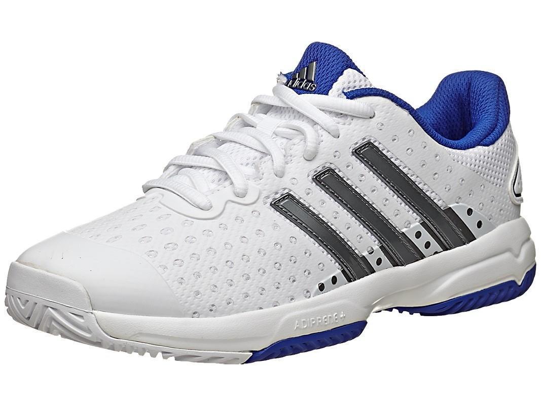Детские теннисные кроссовки adidas Barricade Team 4 xJ - white/iron metallic/bold blue