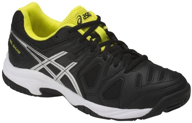 Детские теннисные кроссовки Asics Gel Game 5 GS black/silver/sulphur spring