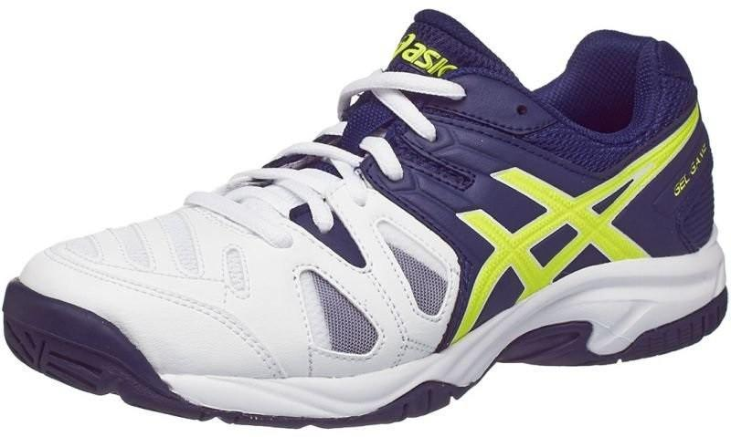 c98c505e Детские теннисные кроссовки Asics Gel Game 5 GS white/indigo blue/safety  yellow