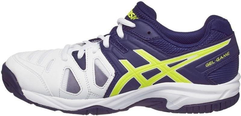 Детские теннисные кроссовки Asics Gel Game 5 GS white/indigo blue/safety yellow
