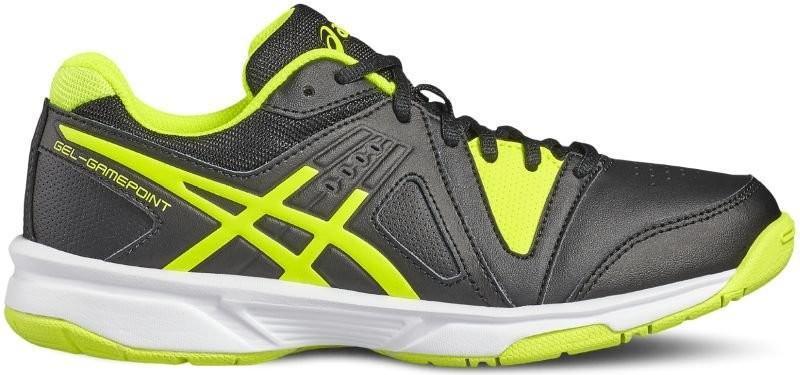 Детские теннисные кроссовки Asics Gel-Gamepoint GS black/safety yellow/white