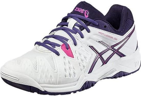Детские теннисные кроссовки Asics Gel-Resolution 6 GS white/parachute purple/hot pink