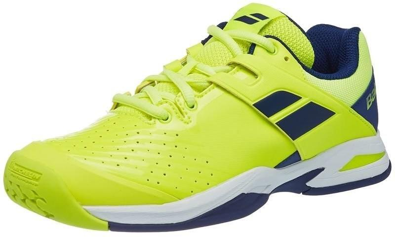 Детские теннисные кроссовки Babolat Propulse All Court Junior fluo yellow/estate blue