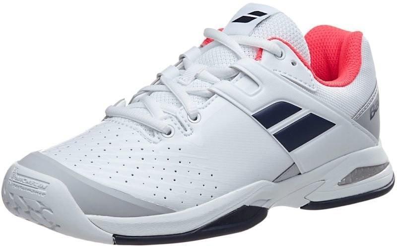 Детские теннисные кроссовки Babolat Propulse All Court Junior white/blue