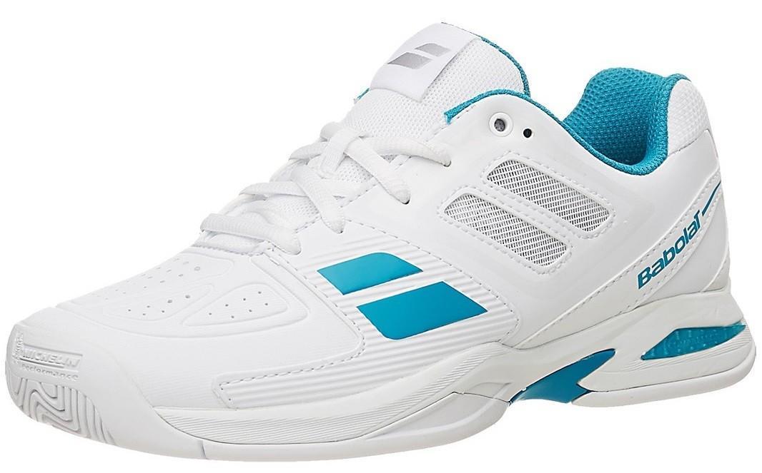 Детские теннисные кроссовки Babolat Propulse Team Junior white/blue