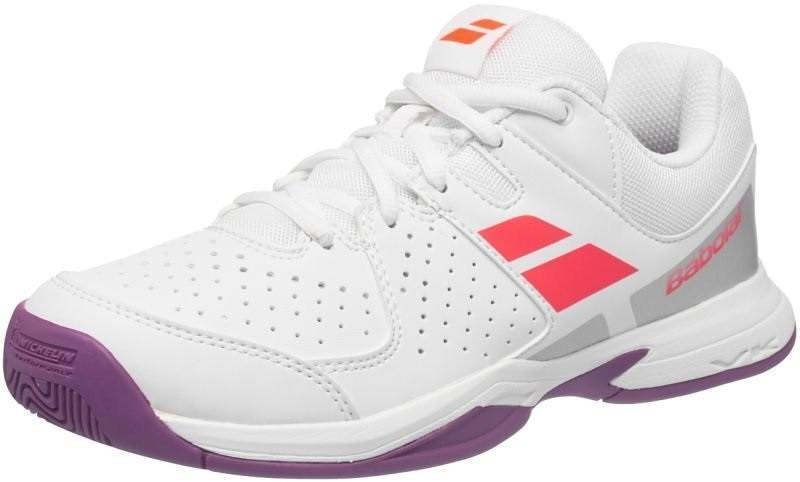 Детские теннисные кроссовки Babolat Pulsion All Court Junior white/fluo red