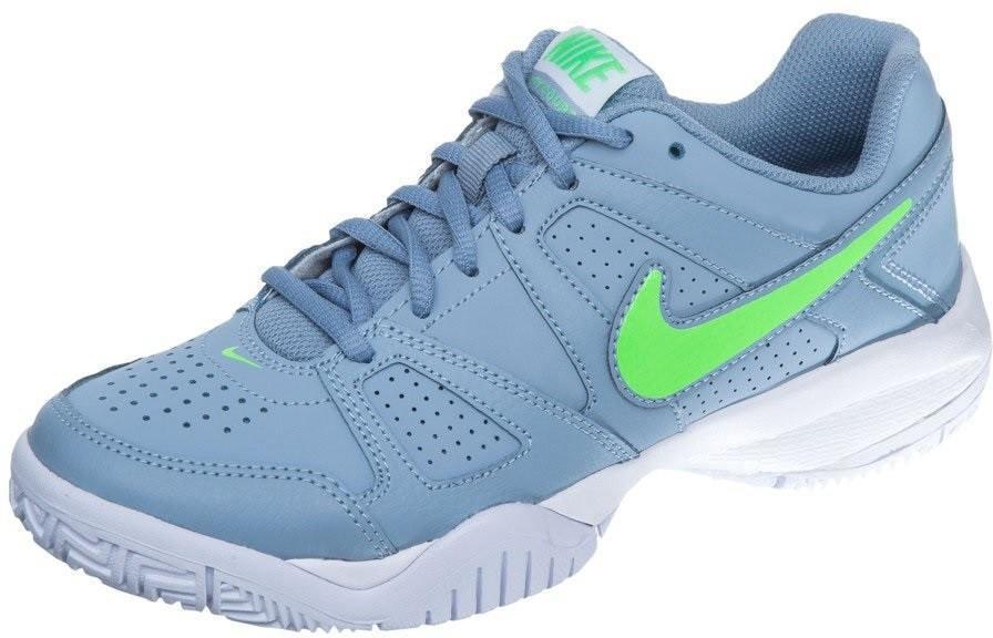 Детские теннисные кроссовки Nike City Court VII (GS) blue grey/voltage green/white