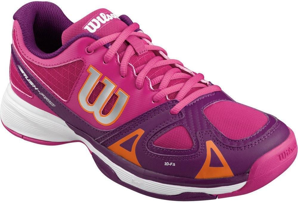 Детские теннисные кроссовки Wilson Rush Pro Junior fiesta pink/dark plumberry/clementine