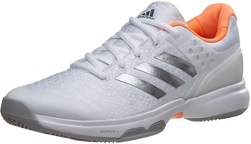 Теннисные кроссовки женские Adidas Adizero Ubersonic 2 ftwr white/silver metallic/glow orange