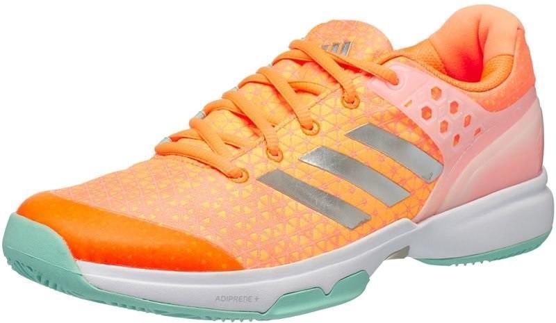 Теннисные кроссовки женские Adidas Adizero Ubersonic 2 glow orange/silver metallic/samba blue