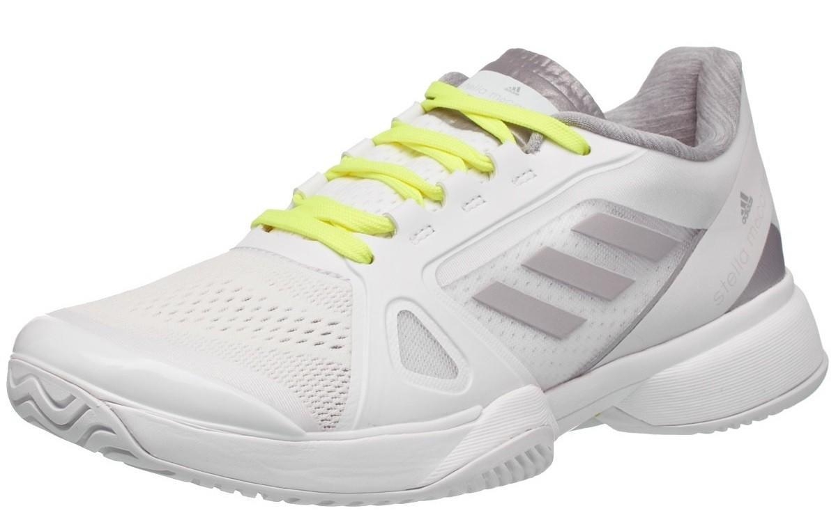 Теннисные кроссовки женские Adidas Stella McCartney Barricade 2017 running white ftw/solar yellow