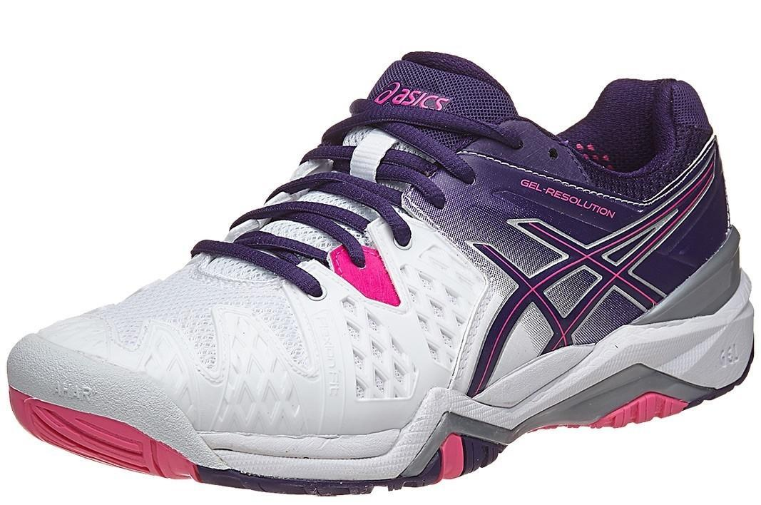 Теннисные кроссовки женские Asics Gel-Resolution 6 white/parachute purple/hot pink