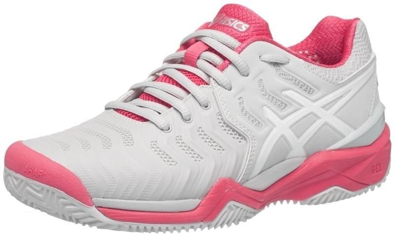 Теннисные кроссовки женские Asics Gel-Resolution 7 ГРУНТ glacier grey/white/rouge red