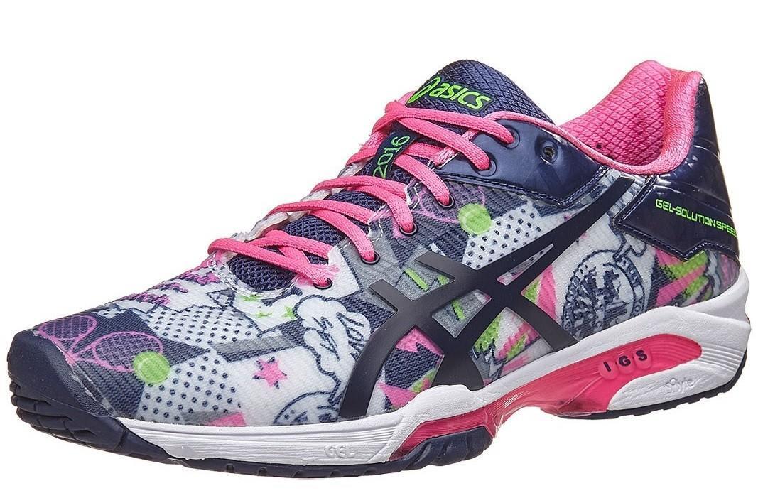 Теннисные кроссовки женские Asics Gel-Solution Speed 3 NYC white/indigo blue/hot pink