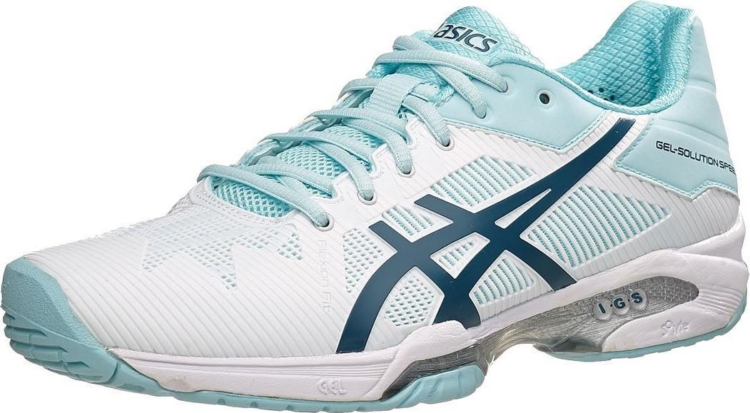 Теннисные кроссовки женские Asics Gel-Solution Speed 3 white/blue steel/crystal blue