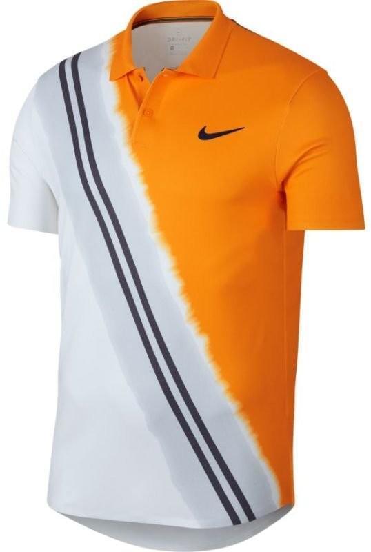 c16243bd8 Теннисная футболка мужская Nike Court Advantage Polo NY orange  peel/blackened blue