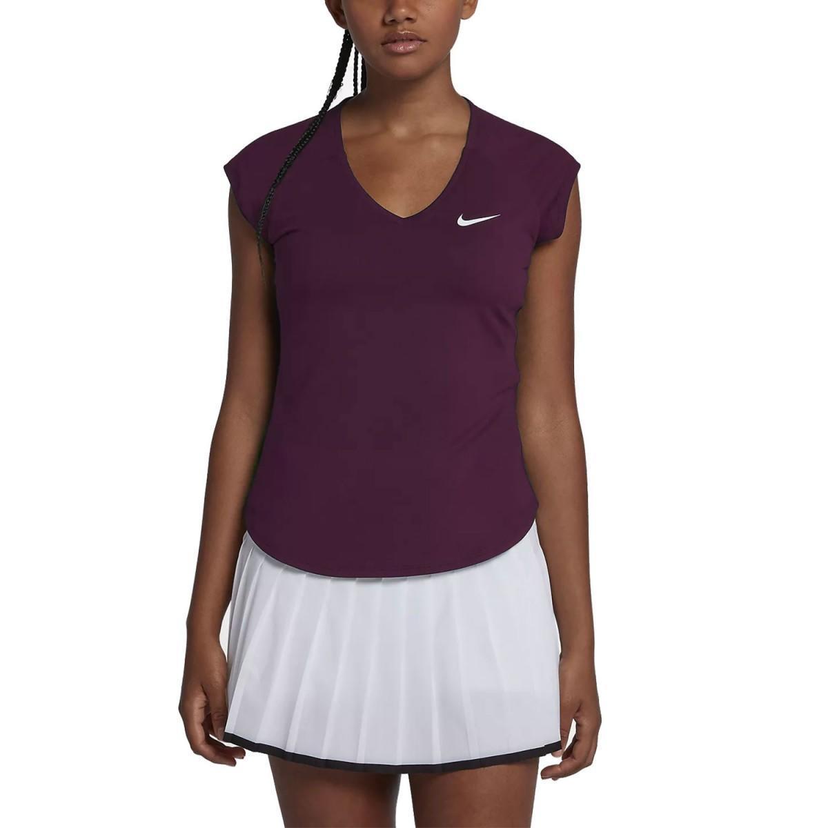 Теннисная футболка женская Nike Court Pure Top purple/white