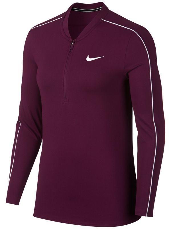 Теннисная футболка женская Nike Court Women Dry 1/2 Zip Top bordeaux/white