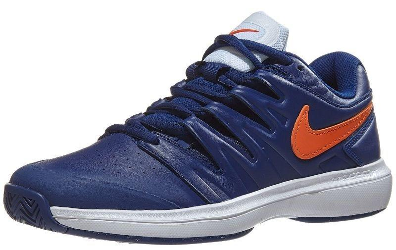 Теннисные кроссовки мужские Nike Air Zoom Prestige Leather HC blue void/orange blaze/white