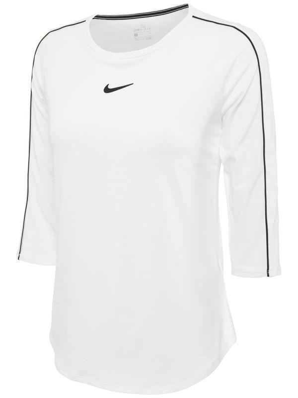 Теннисная футболка женская Nike Court Women 3-4 Sleeve Top white/black