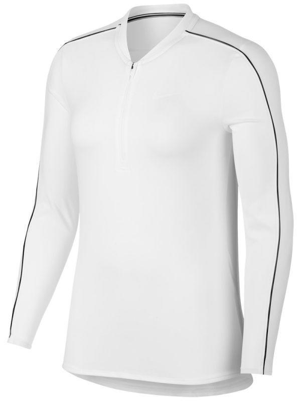 Теннисная футболка женская Nike Court Women Dry 1/2 Zip Top white/black