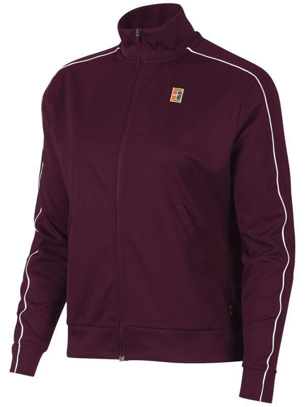 Кофта женская Nike Court Warm Up Jacket bordeaux/white