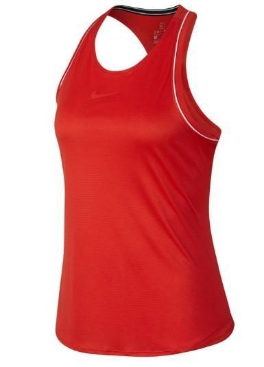 Теннисная майка женская Nike Court Dry Tank habanero red/white