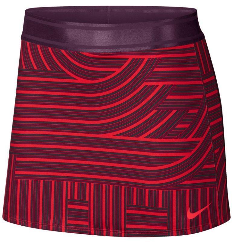 Теннисная юбка женская Nike Court Dry Skirt Printed habanero red/bordeaux/bright crimson